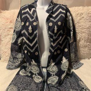 Other - NEW! Navy Blue and White Kimono